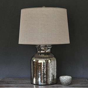 Antique Silver Bottle Lamp And Shade - bedroom