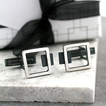 Silver Art Deco Square Frame Cufflinks