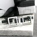 Silver Art Deco Square Frame Cufflinks