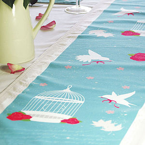 Bird Cage Vintage Table Runner - dining room
