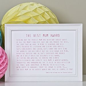 Best Mum Award Poem Print - for mothers