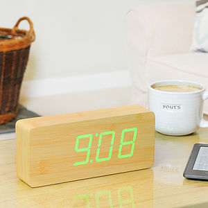 Rechargeable Slab Beech Click Clock