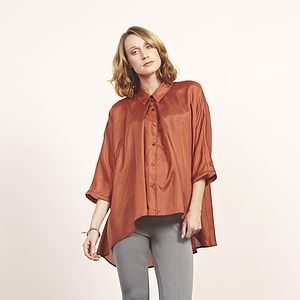 Terracota Orange Silk Habotai Shirt - luxury fashion