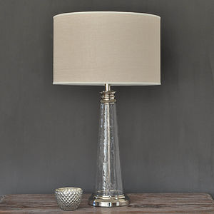 Large Textured Glass Lamp With Linen Shade