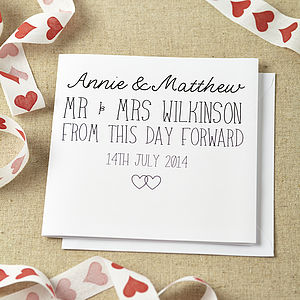 Personalised From This Day Forward Card - wedding cards & wrap