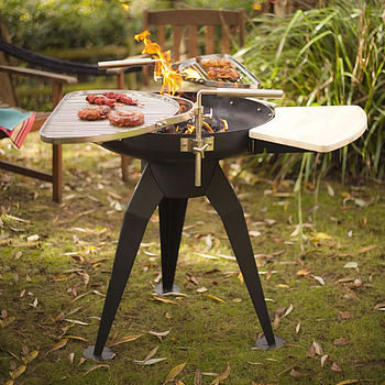 Firepit Barbecue With Two Grills
