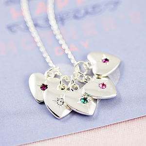 Family Birthstone Starburst Heart Necklace