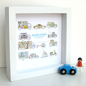 Personalised Baby Boy Transport Map Artwork