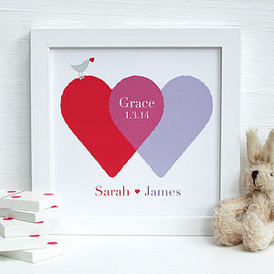 Personalised New Baby Entwined Hearts