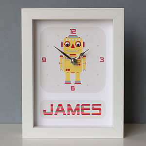 Personalised Framed Robot Clock - gifts for babies