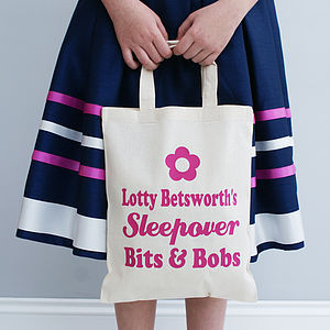 Personalised Flower Or Star Sleepover Shopper Bag - bags, purses & wallets