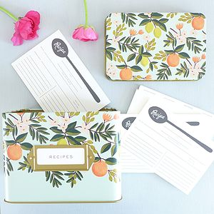 Citrus Floral Tin Recipe Box Set - kitchen accessories