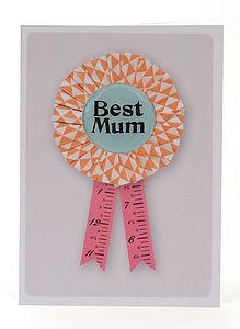 Best Mum Rossette Greeting Card