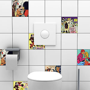 Romantic Comic Tile Stickers - wall stickers