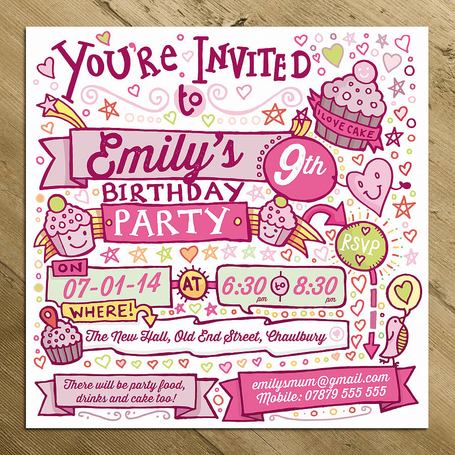 Personalised Childs Party Invitations