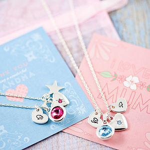 Birthstone Gemstone Cluster Charm Necklace - jewellery sale