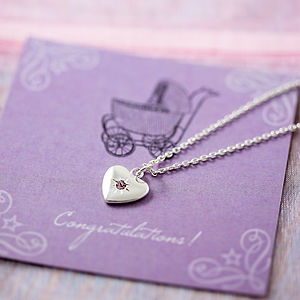 New Mother Birthstone Heart Necklace