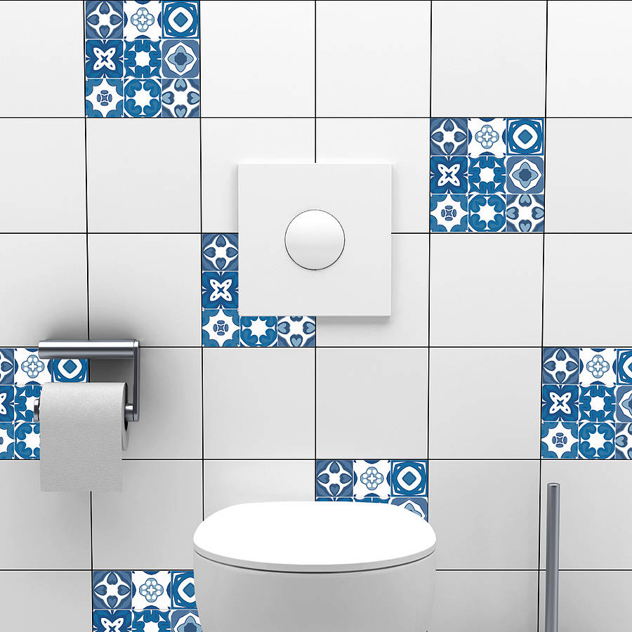 Portuguese tile stickers by spin collective for Bathroom tile stickers