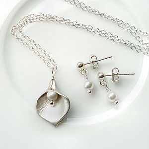 Calla Lily And Pearl Stud Set - necklaces & pendants