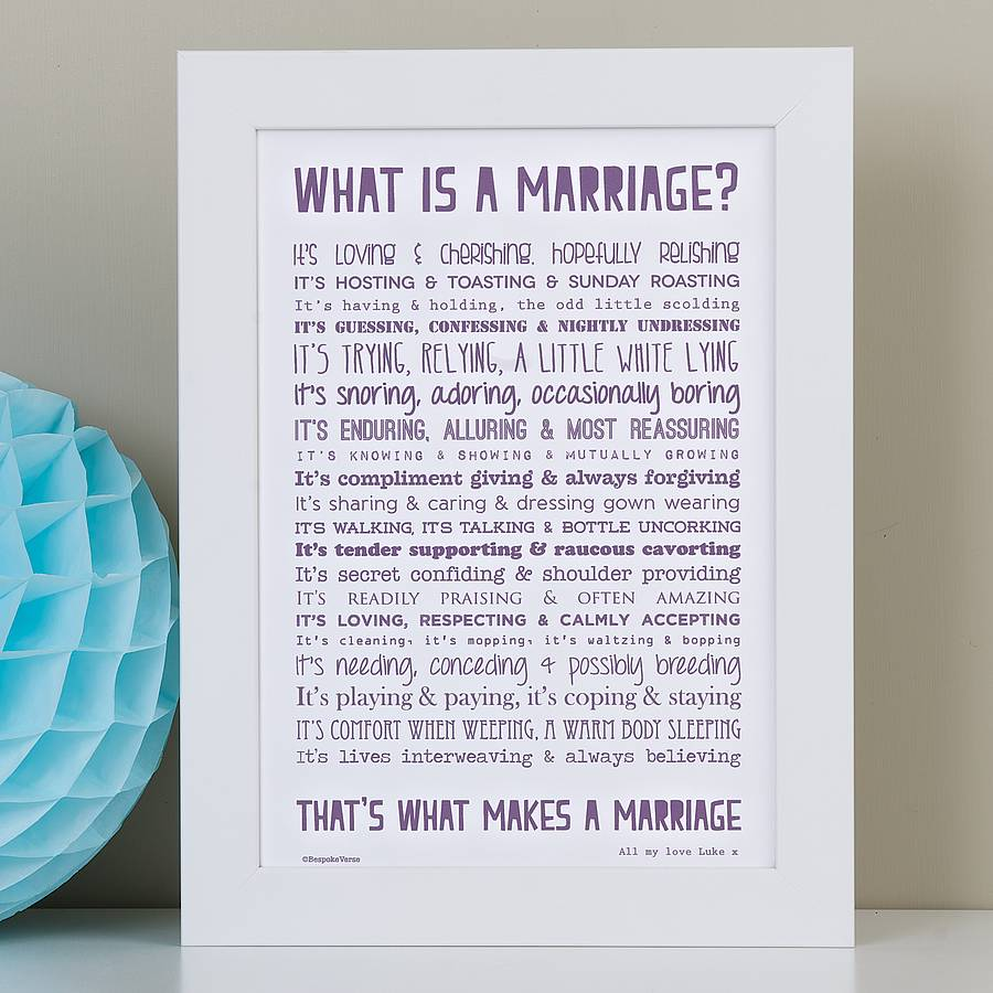 Marriage Print With Wedding Poem