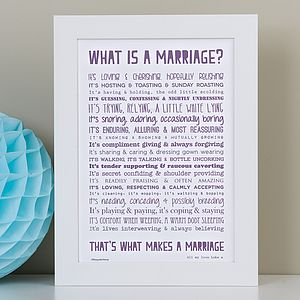 'What Is Marriage?' Poem Typographic Print - personalised