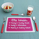 Personalised Pink Or Blue 'We Love' Placemat