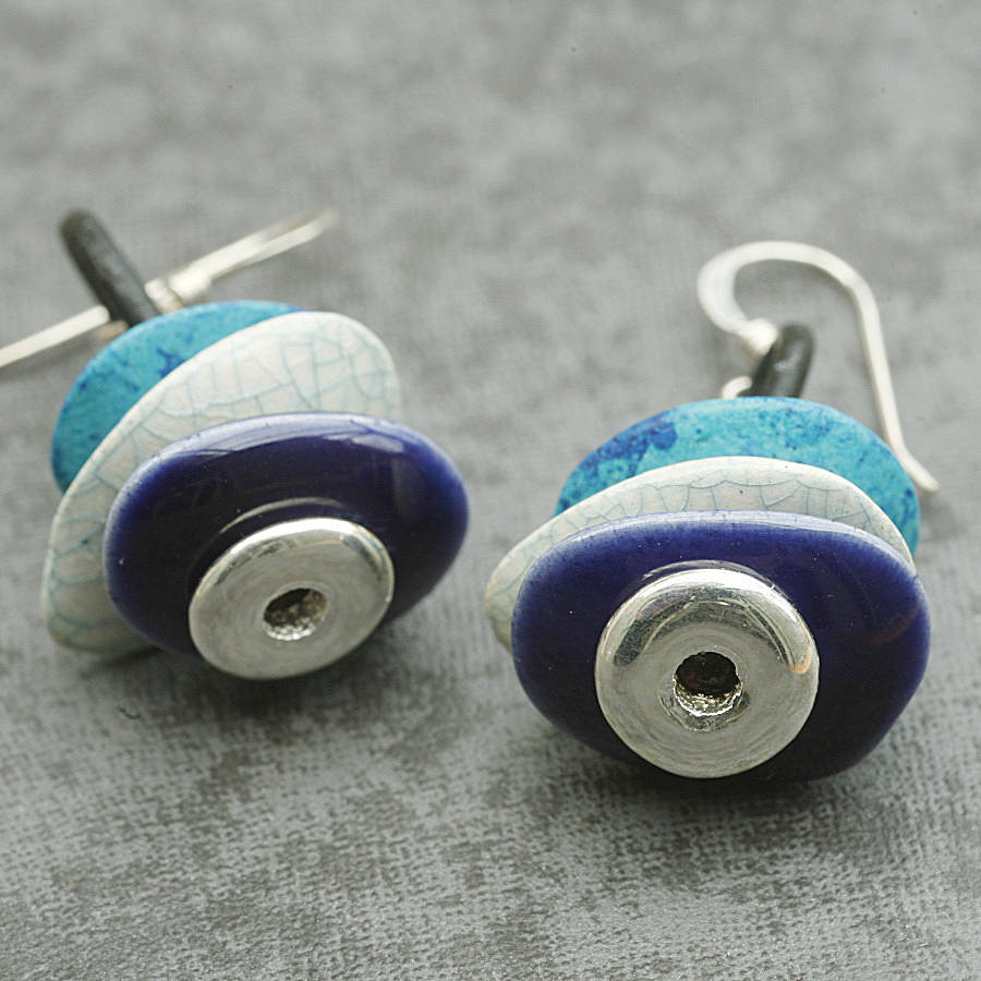 Silver And Blue Moonchip Earrings