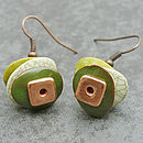 Green And Copper Moonchip Earrings