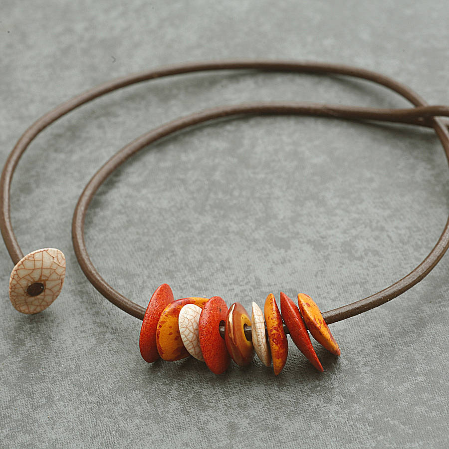 Orange And Copper Moonchip Necklace