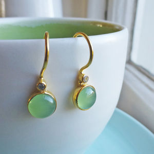 Cabochon Cut Gold Earrings