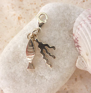 Silver Fish And Seaweed Charm - women's sale