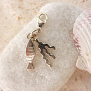 Silver Fish And Seaweed Charm