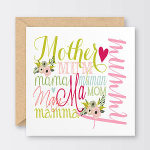 'Words For Mum' Mother's Day Card