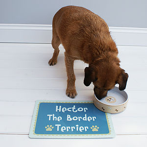 Personalised Pink Or Blue Pet Food Mat - food, feeding & treats