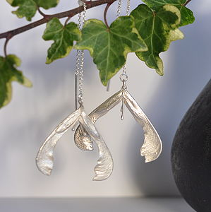 Sterling Silver Ash Seed Hanging Earrings