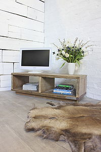 Skipton Reclaimed Scaffolding Board Media Unit - living room