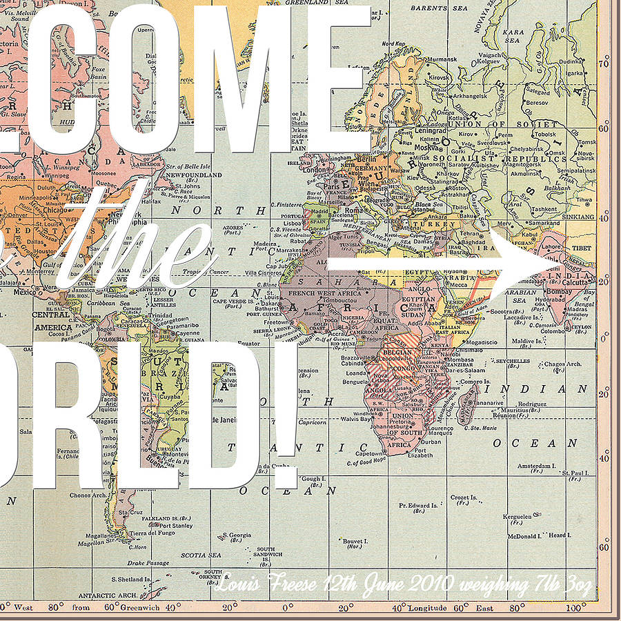 Personalised welcome to the world map print by of life lemons personalised welcome to the world map print gumiabroncs Images