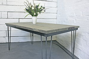 Corinne Dining Table With Dark Steel Hairpin Legs