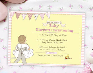 Christening Day Invitations ' My Bow' - christening cards
