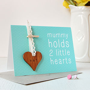 Personalised Mummy Heart Token Card - mother's day cards