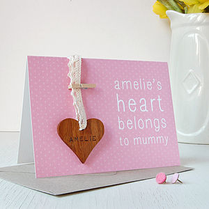 Personalised Mummy Heart Keepsake Card - cards & wrap