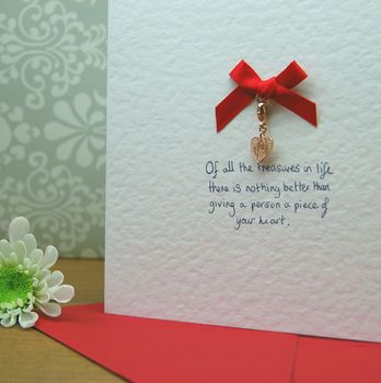 Handmade Heart Charm Cards With Personalised Message