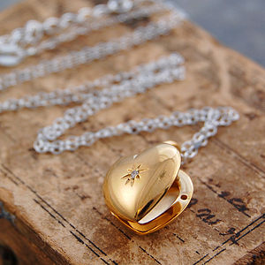 Gold And White Topaz Star Heart Locket Necklace - necklaces & pendants