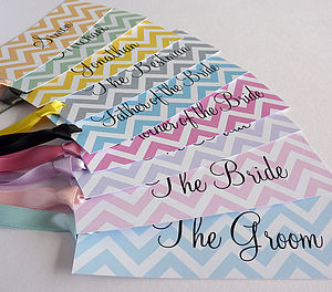 Chevron Personalised Name Tags - ribbon & wrap