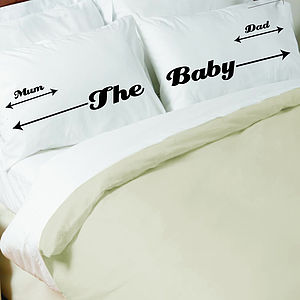 New Baby Family Pillowcase Set Gift For New Parents - gifts for new parents