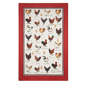 Mf Chicken And Egg Linen Tea Towel