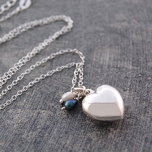 Sterling Silver Heart And Pearl Locket Necklace - lockets