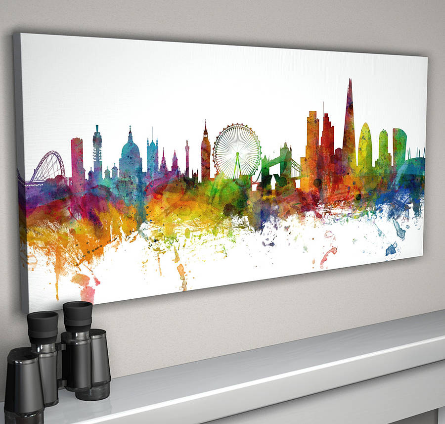 London skyline cityscape number two by artpause for Large colorful wall art