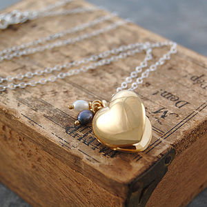 18k Yellow Gold Puffed Heart Pearl Locket Necklace - gifts for her