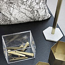 Hexagon Brass And Marble Kitchen Towel Stand